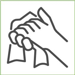 Simple symbol of drying hands with paper
